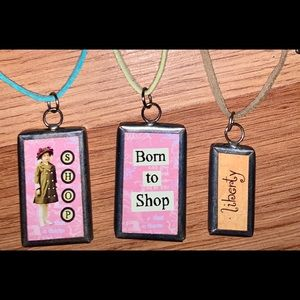 Born to shop sign rope necklace new